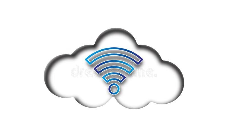 Icono azul de WiFi de la nube en el fondo blanco libre illustration