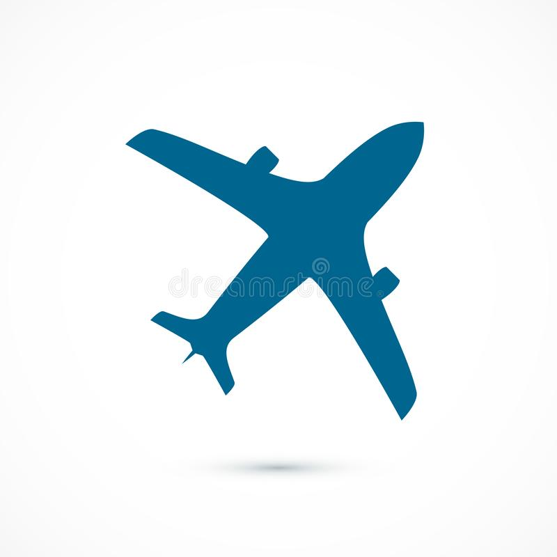 Icono azul del aeroplano del vuelo Ilustración del vector aislada en el fondo blanco stock de ilustración