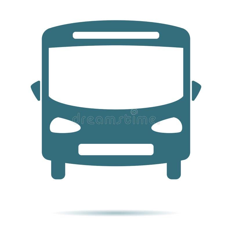Icono azul del autobús aislado en fondo Pictograma plano moderno, negocio, márketing, concepto de Internet ilustración del vector