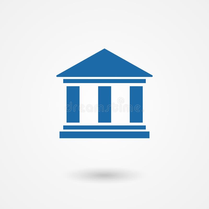Icono azul del banco stock de ilustración