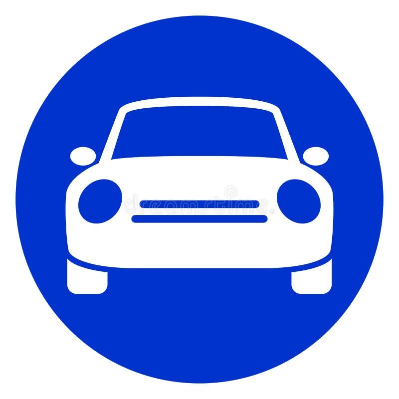 Icono azul del coche del círculo ilustración del vector