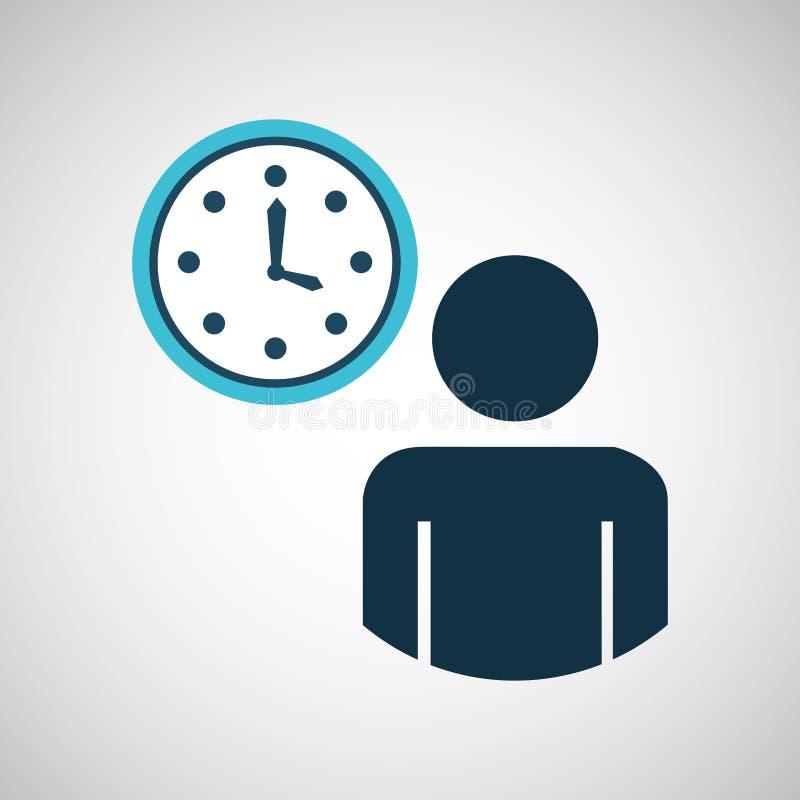 icono azul del diseño del tiempo del reloj de reloj del hombre de la silueta stock de ilustración