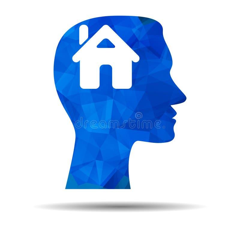 Icono azul del diseño del triángulo con la cabeza humana, el cerebro y la casa libre illustration