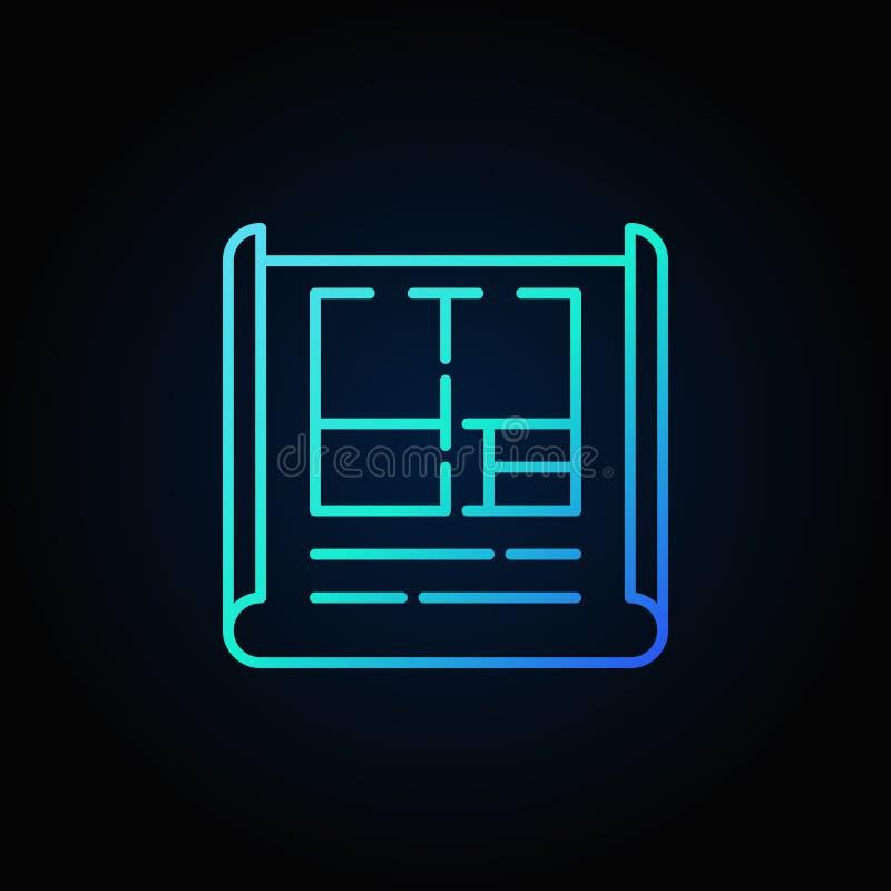 Icono azul del esquema del plan del apartamento stock de ilustración