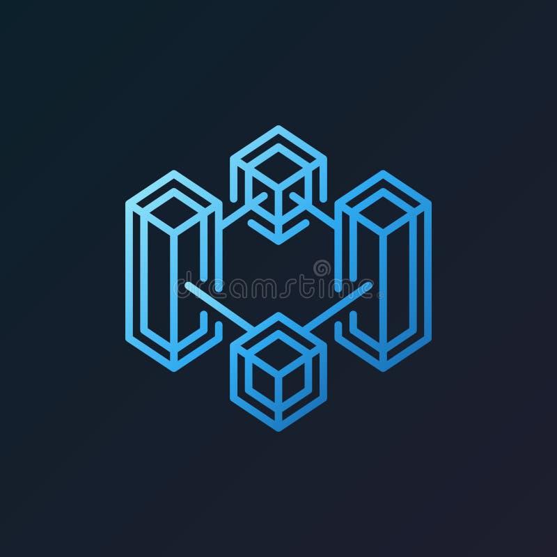 Icono azul del esquema del vector de la tecnología crypto de la cadena de bloque libre illustration