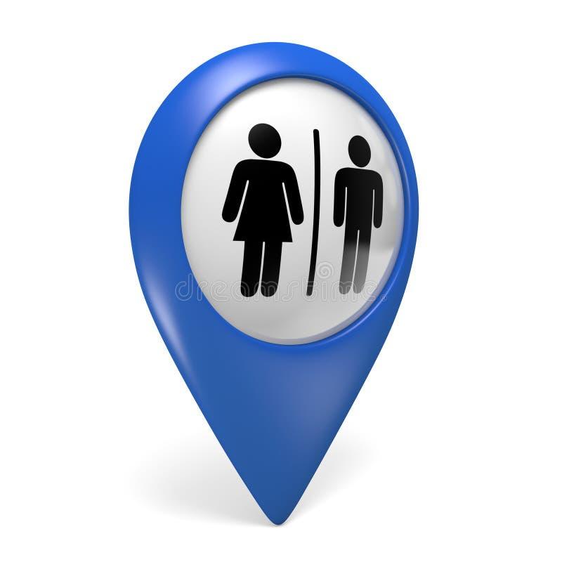 Icono azul del indicador 3D del mapa con los símbolos masculinos y femeninos del género para los lavabos libre illustration