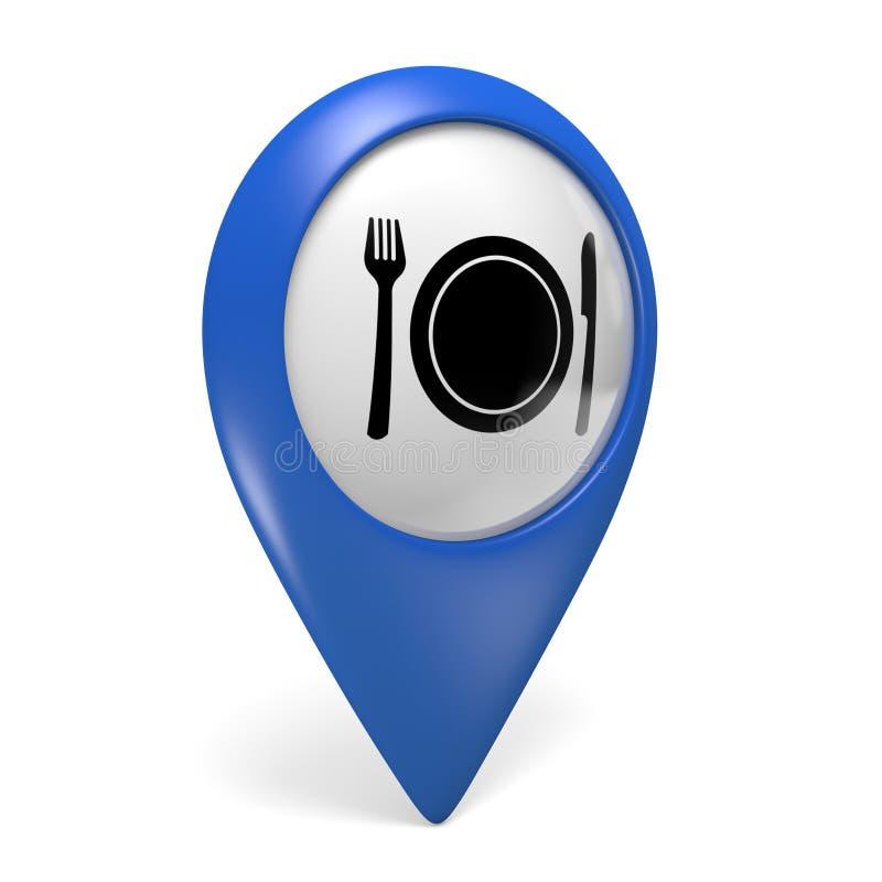 Icono azul del indicador 3D del mapa con un símbolo de la placa de la comida para los restaurantes libre illustration
