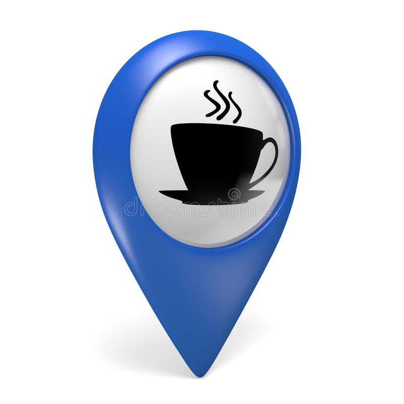 Icono azul del indicador 3D del mapa con un símbolo de la taza de café para los cafés y los bistros libre illustration