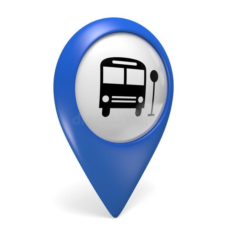 Icono azul del indicador 3D del mapa con un símbolo del autobús para el transporte público stock de ilustración