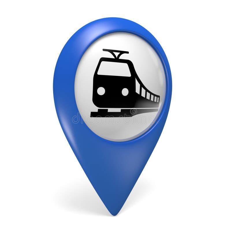 Icono azul del indicador 3D del mapa con un símbolo del tren para los ferrocarriles stock de ilustración