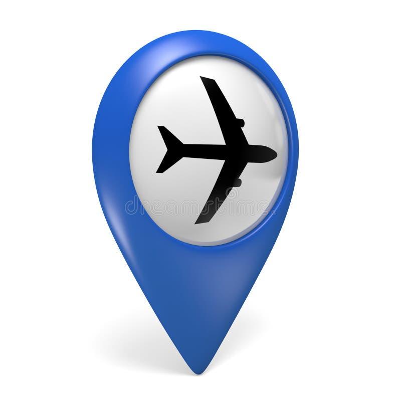Icono azul del indicador 3D del mapa con un símbolo plano para los aeropuertos stock de ilustración