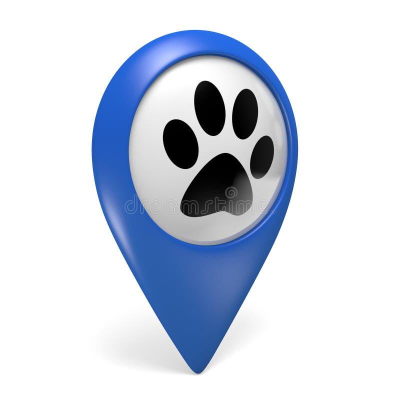 Icono azul del indicador del mapa con un símbolo de la pata para las tiendas de animales y los servicios del animal doméstico ilustración del vector