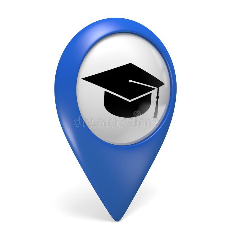 Icono azul del indicador del mapa con un símbolo del casquillo del graduado para las universidades y las universidades libre illustration