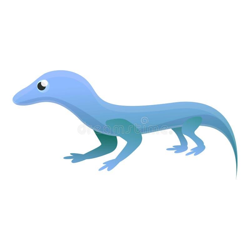 Icono azul del lagarto, estilo de la historieta stock de ilustración