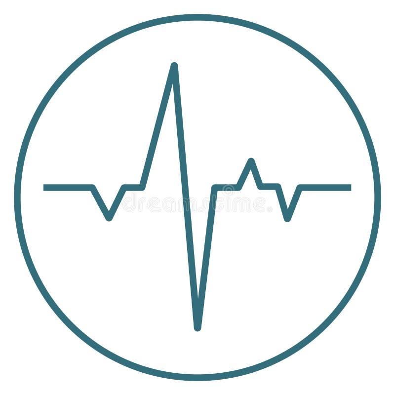 Icono azul del latido del corazón aislado en fondo Pictograma plano moderno, negocio, márketing, estafa de Internet ilustración del vector