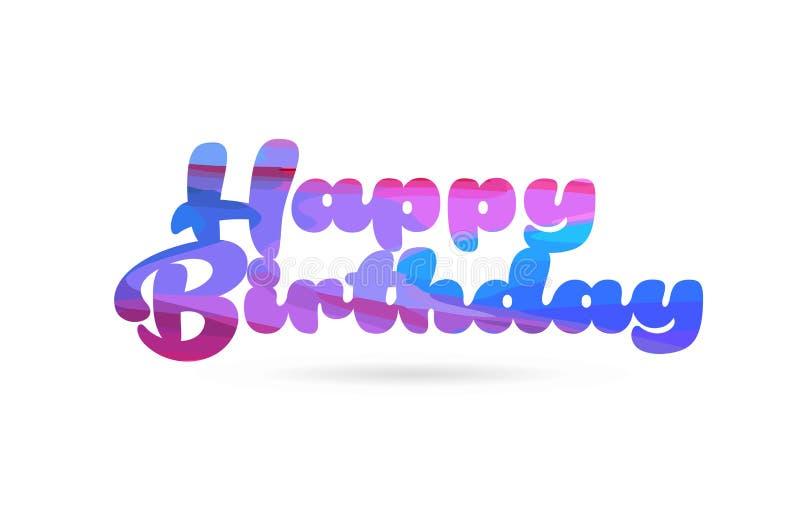 icono azul del logotipo del texto de la palabra del color del rosa del feliz cumpleaños stock de ilustración