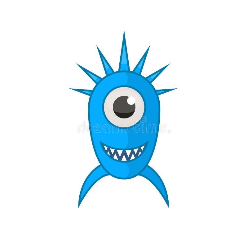 Icono azul del monstruo aislado en un estilo plano de la historieta en un fondo blanco Ejemplo Halloween del vector para su stock de ilustración