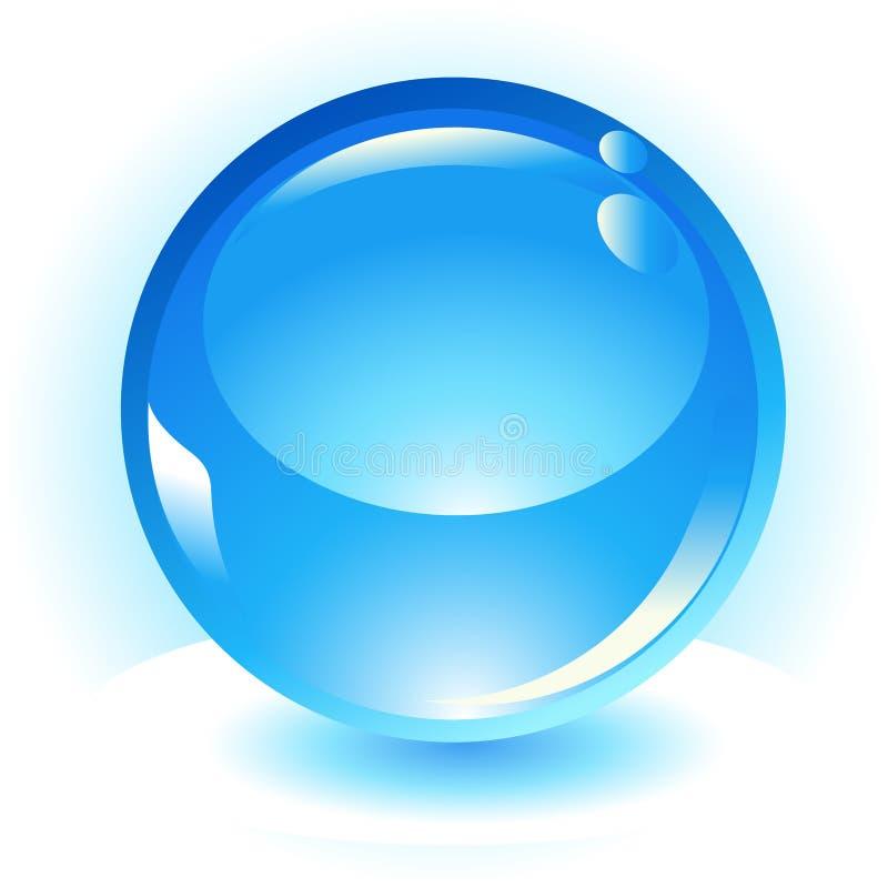 Icono azul del vector de la esfera del Aqua ilustración del vector