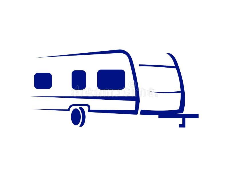 Icono azul interesante del logotipo del remolque stock de ilustración