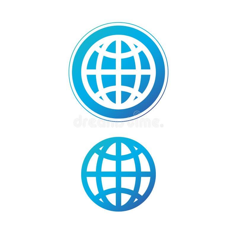 Icono azul moderno del globo en icono del círculo, de la tierra o del mundo Ilustración del vector aislada en el fondo blanco stock de ilustración