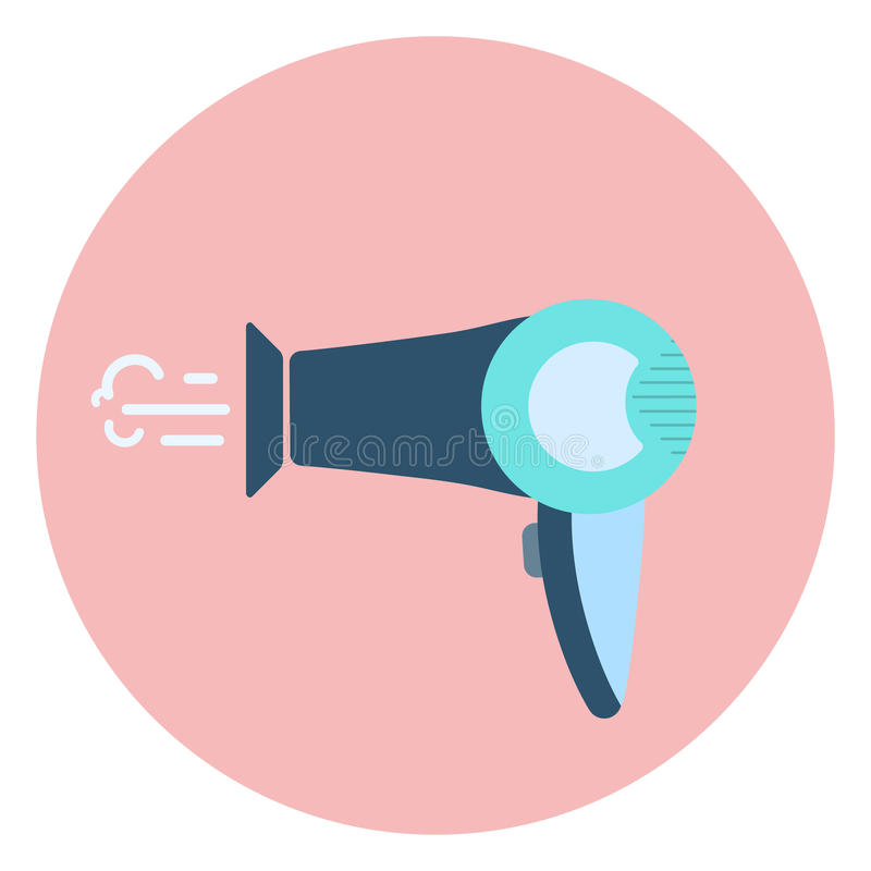 Icono azul plano del secador de pelo, símbolo del aparador del pelo libre illustration