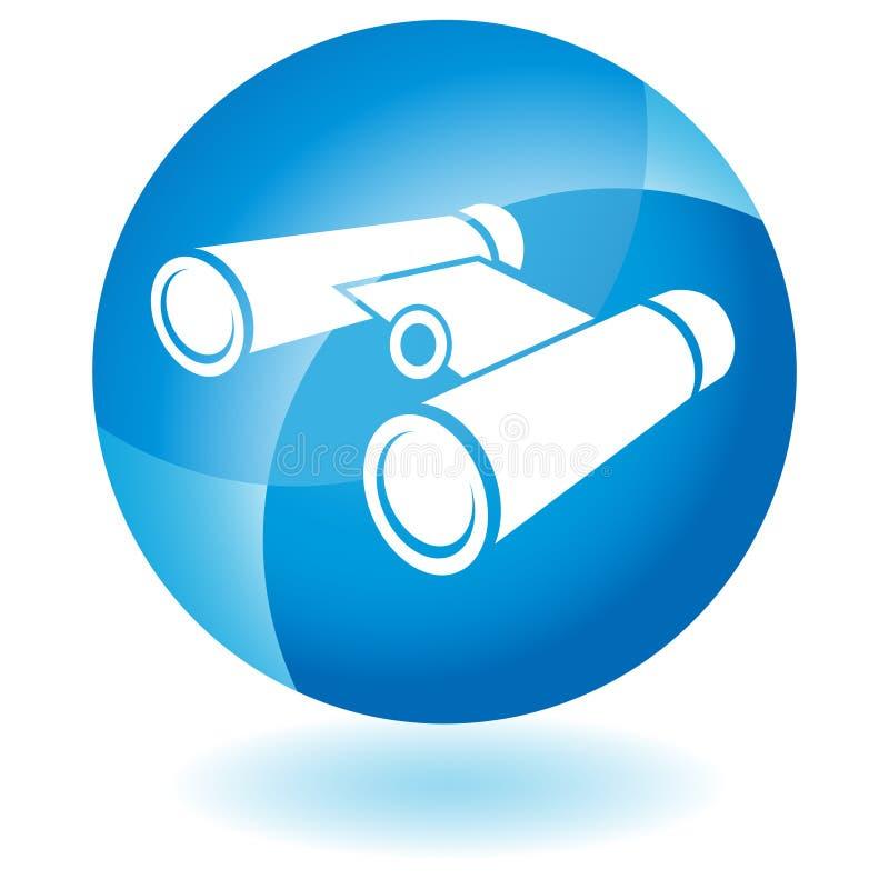 Icono azul - prismáticos ilustración del vector