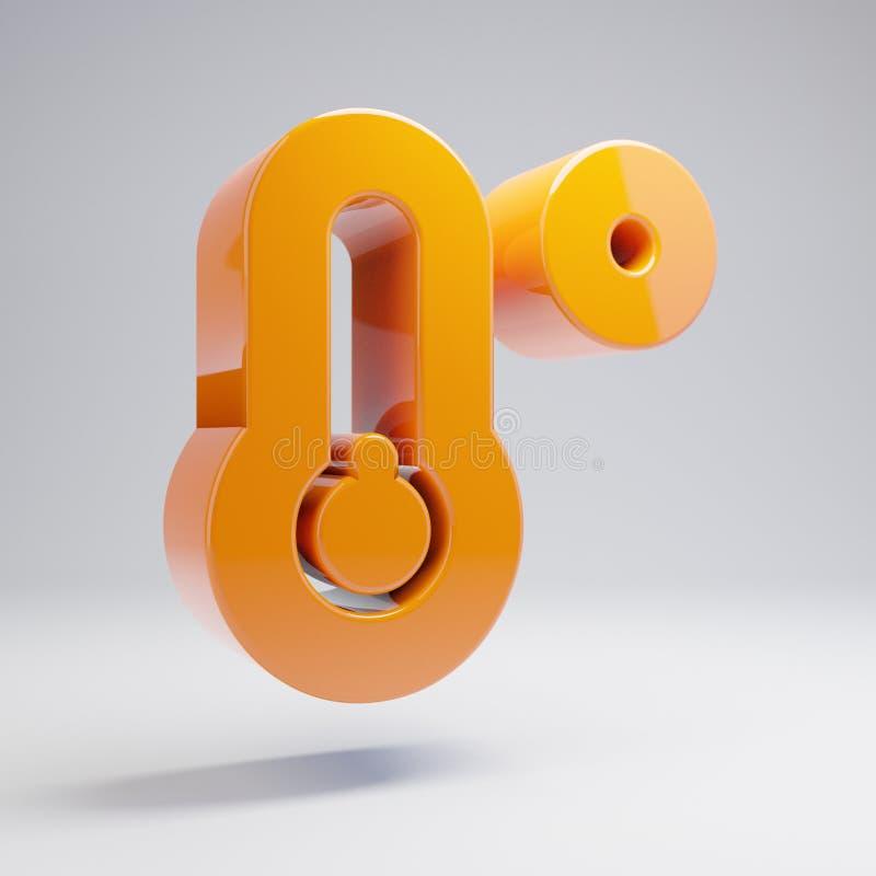 Icono bajo de la temperatura anaranjada caliente brillante volumétrica aislado en el fondo blanco libre illustration