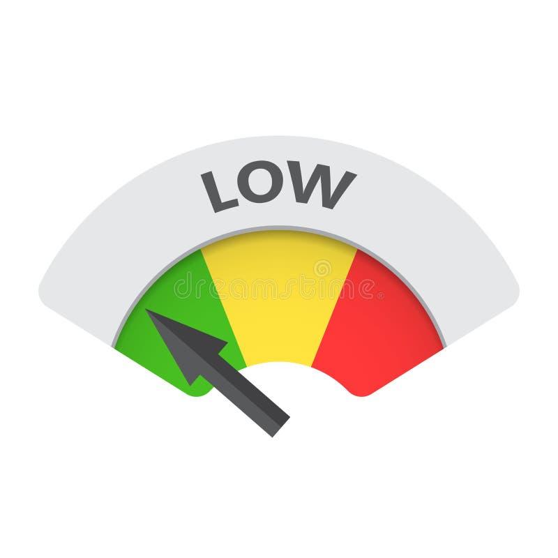 Icono bajo del vector del indicador del riesgo Ejemplo bajo del combustible en blanco libre illustration