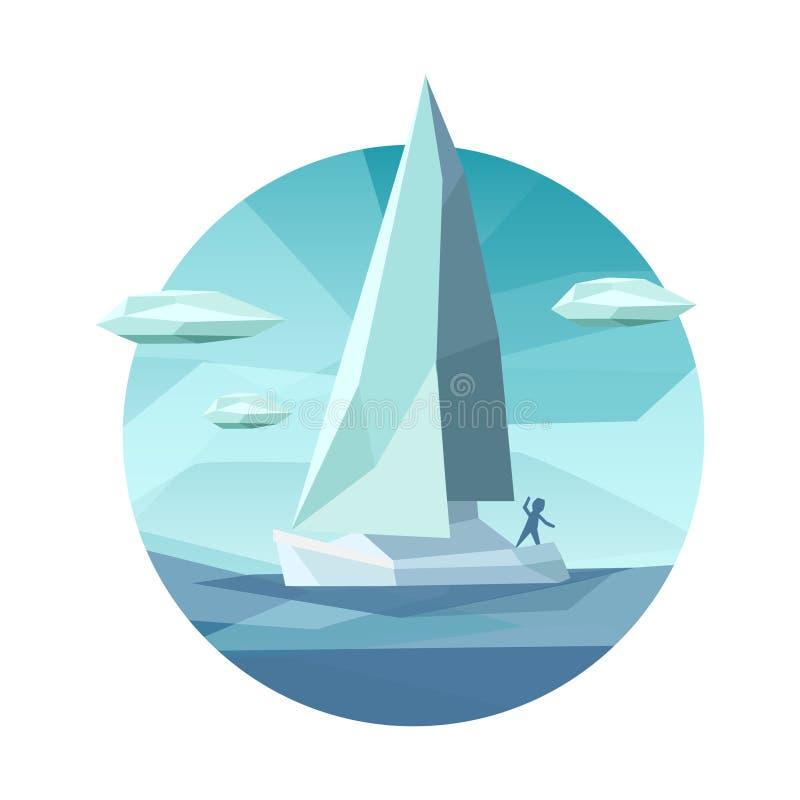 Icono bajo del velero del polígono libre illustration