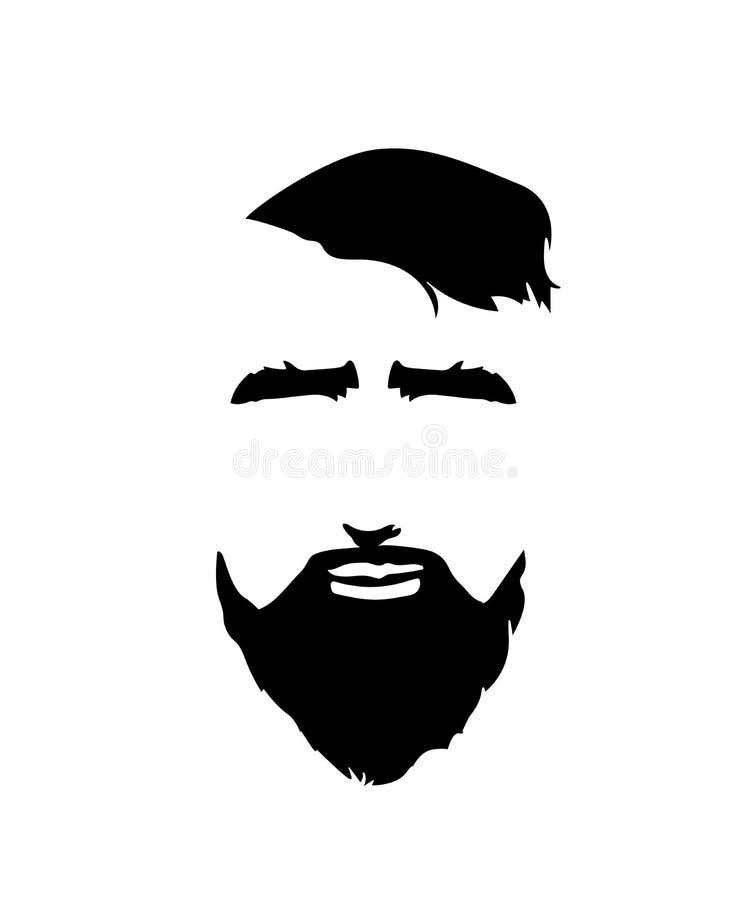 Icono barbudo de la cara del hombre Estilo del inconformista ilustración del vector