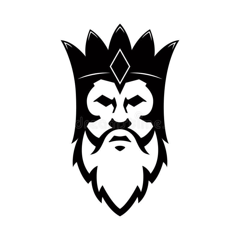 Icono barbudo del rey Diseñe el elemento para la muestra, insignia, camiseta, cartel libre illustration