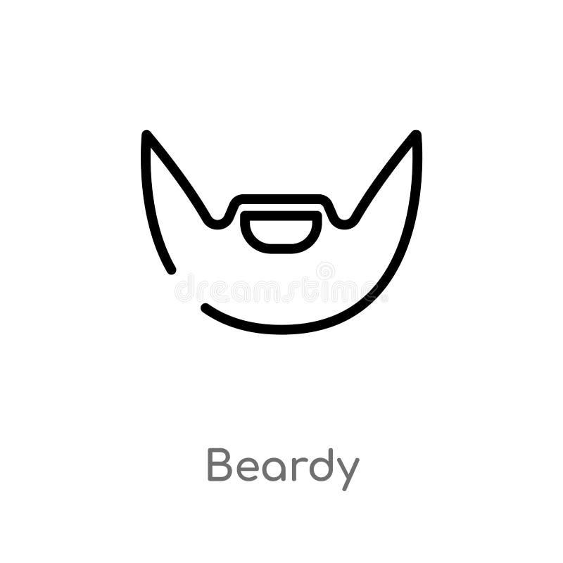 icono beardy del vector del esquema l?nea simple negra aislada ejemplo del elemento del concepto de la higiene movimiento editabl ilustración del vector