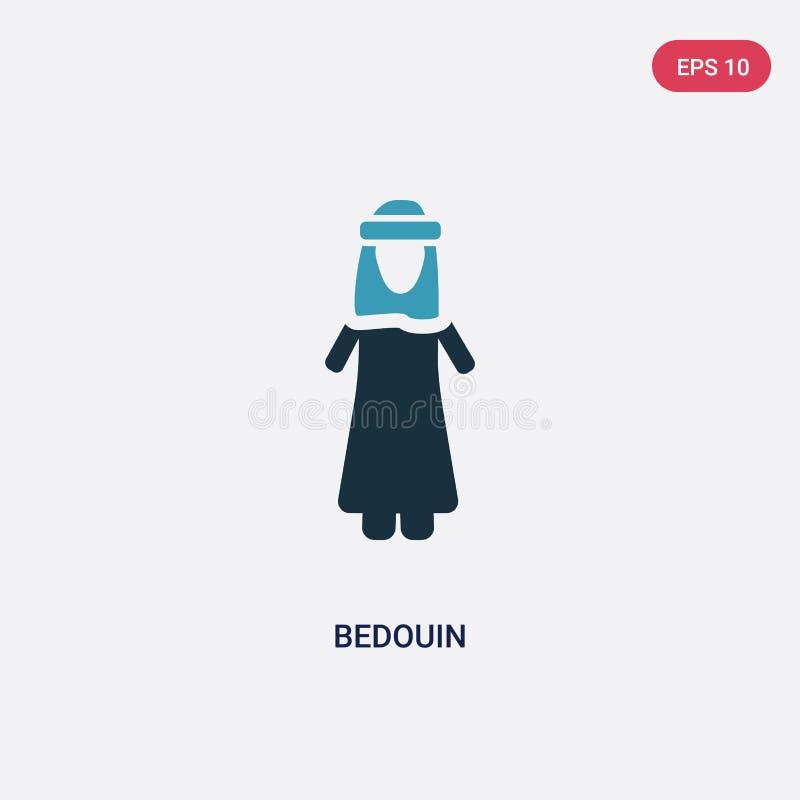 Icono beduino bicolor del vector del concepto de la gente el símbolo beduino azul aislado de la muestra del vector puede ser uso  stock de ilustración