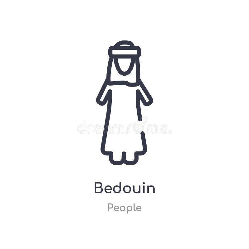 icono beduino del esquema l?nea aislada ejemplo del vector de la colecci?n de la gente icono beduino del movimiento fino editable ilustración del vector