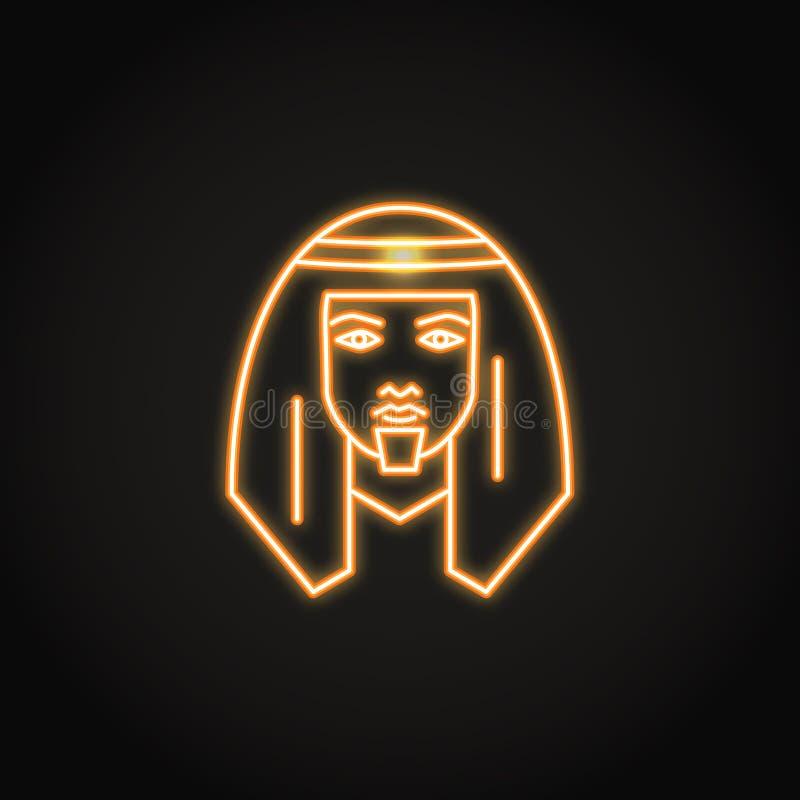 Icono beduino del hombre en estilo de neón que brilla intensamente ilustración del vector