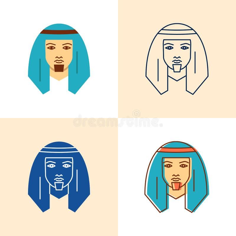 Icono beduino del hombre fijado en el plano y la línea estilo ilustración del vector