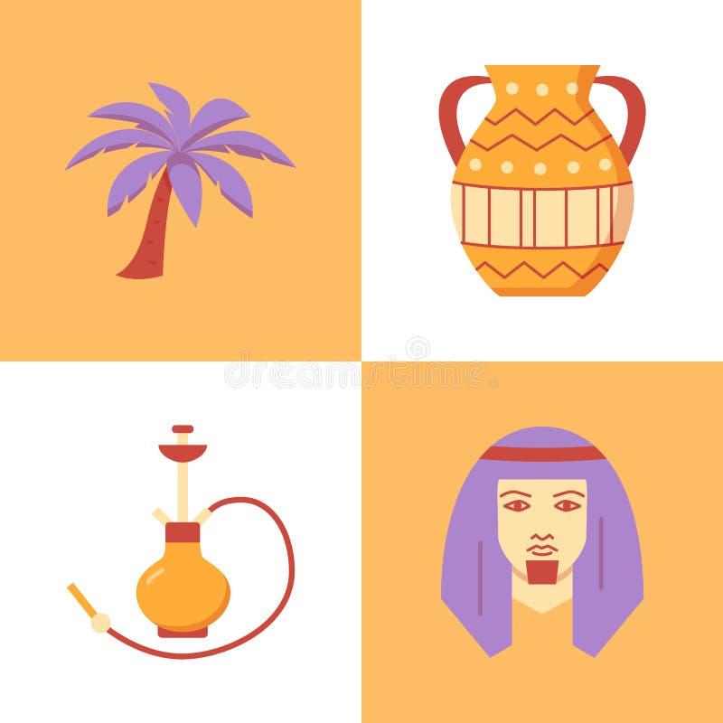 Icono beduino del hombre fijado en el plano y la l?nea estilo stock de ilustración