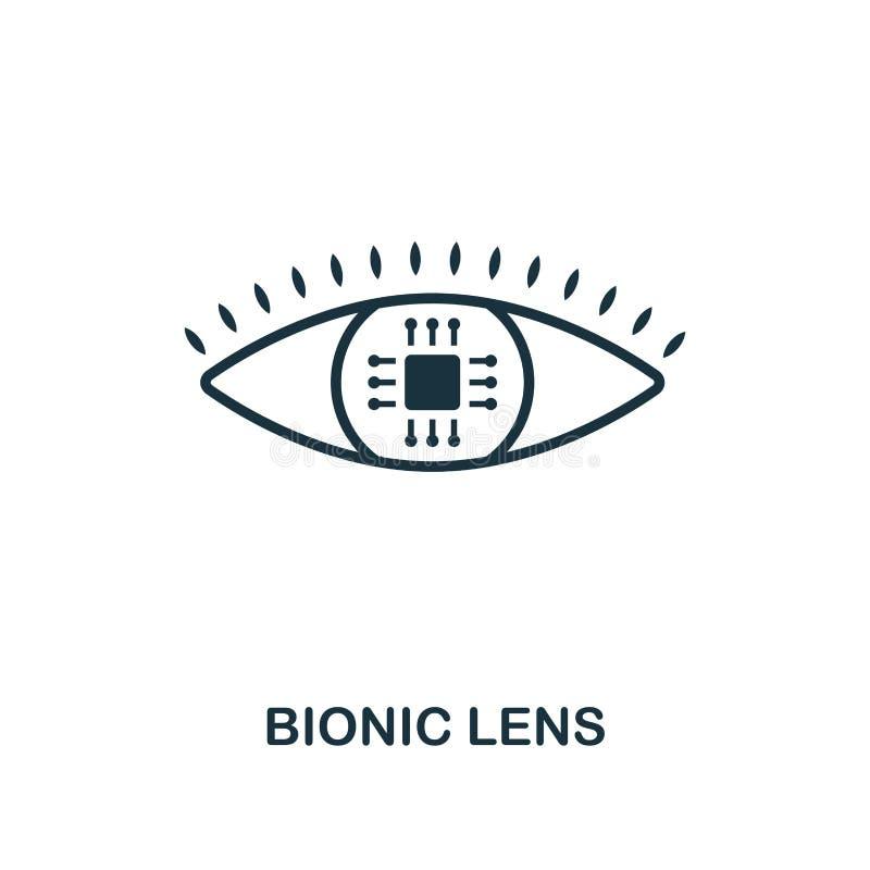 Icono biónico de la lente Diseño superior del estilo de la colección futura de los iconos de la tecnología Icono biónico perfecto ilustración del vector