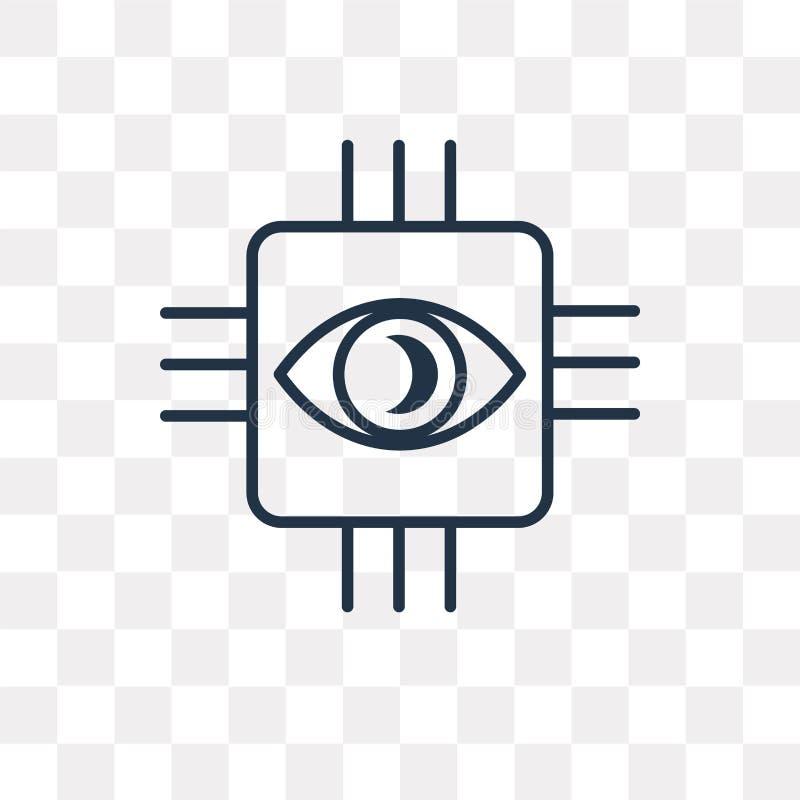 Icono biónico del vector aislado en el fondo transparente, BI linear stock de ilustración