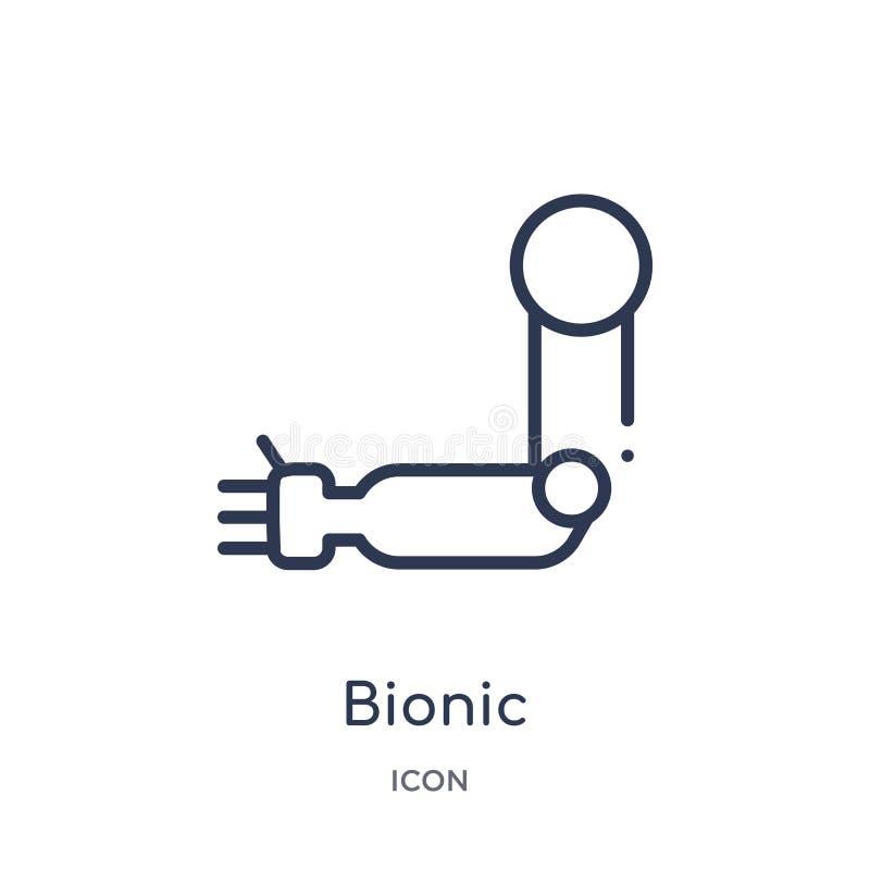 Icono biónico linear de la colección del esquema de la inteligencia artificial Línea fina vector biónico aislado en el fondo blan ilustración del vector