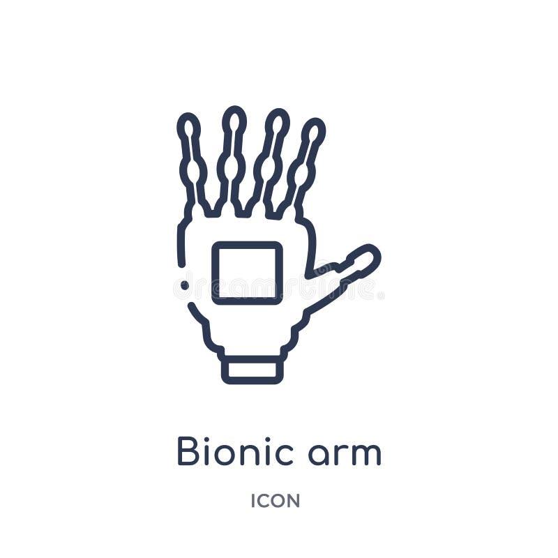 Icono biónico linear del brazo del intellegence artificial y de la colección futura del esquema de la tecnología La línea fina ve ilustración del vector