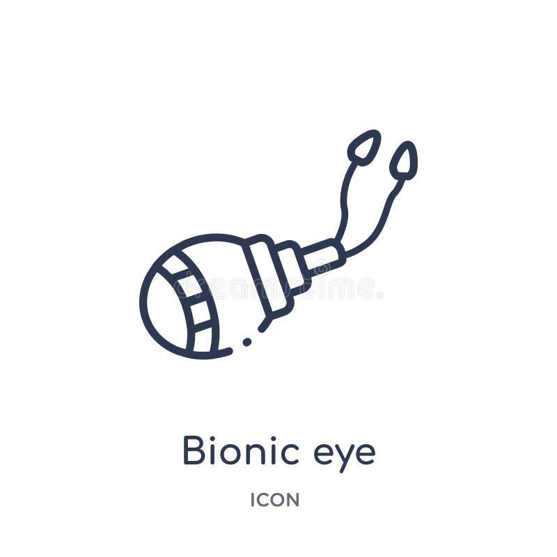 Icono biónico linear del ojo del intellegence artificial y de la colección futura del esquema de la tecnología La línea fina vect ilustración del vector