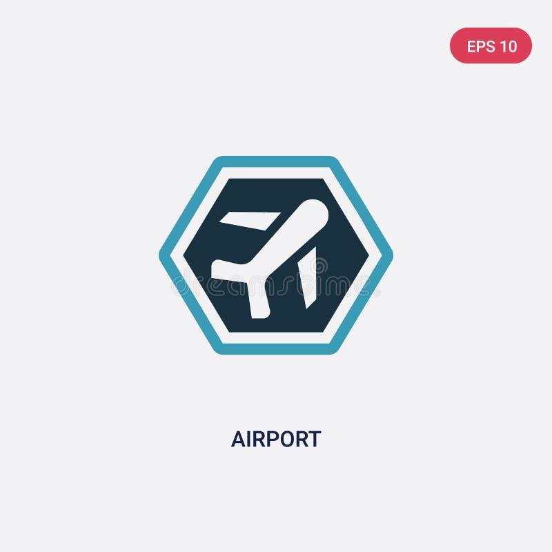 Icono bicolor del vector del aeropuerto del concepto de las muestras el símbolo azul aislado de la muestra del vector del aeropue stock de ilustración