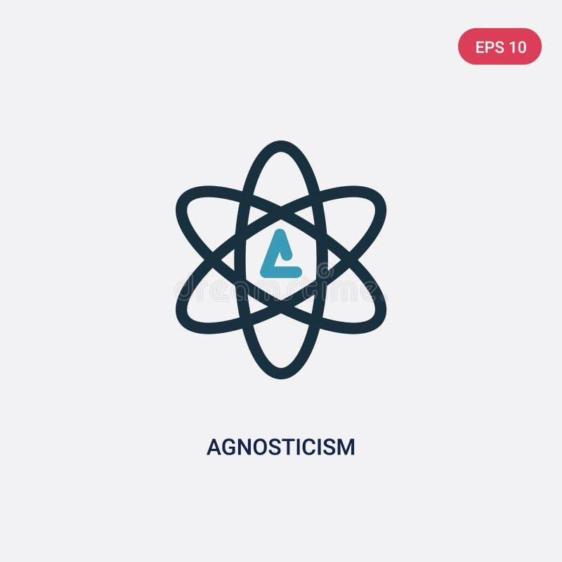 Icono bicolor del vector del agnosticismo del concepto de la religión el símbolo azul aislado de la muestra del vector del agnost stock de ilustración