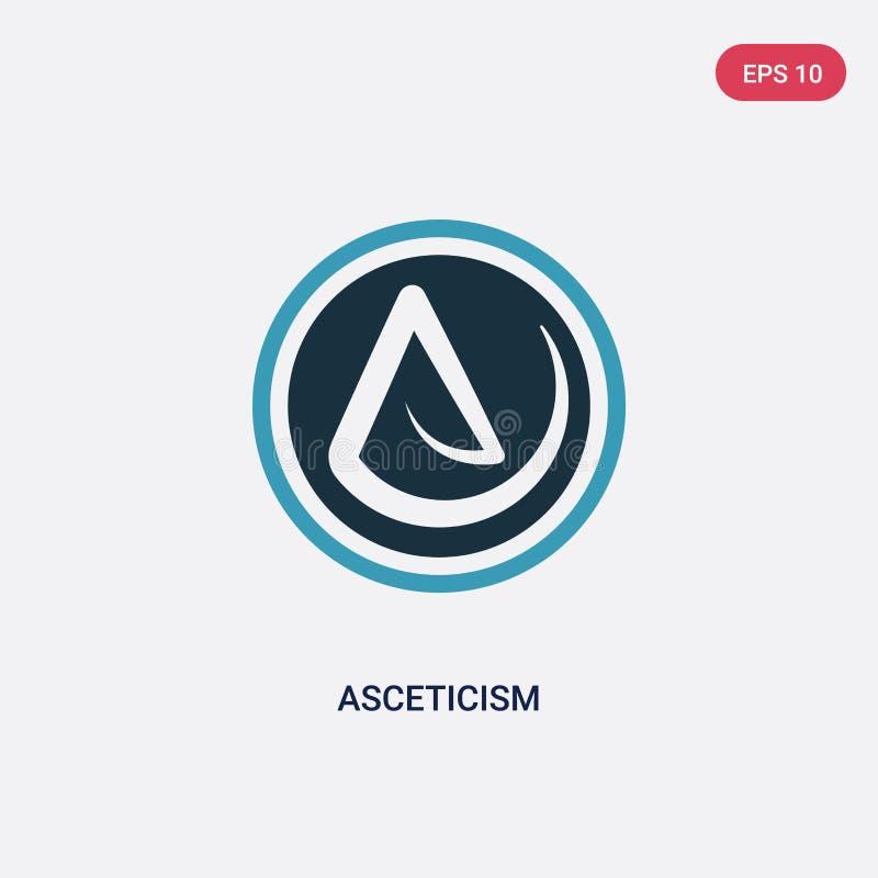 Icono bicolor del vector del ascetismo del concepto de la religión el símbolo azul aislado de la muestra del vector del ascetismo libre illustration
