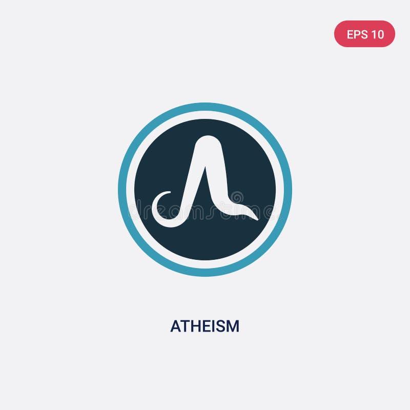 Icono bicolor del vector del ateísmo del concepto de la religión el símbolo azul aislado de la muestra del vector del ateísmo pue stock de ilustración