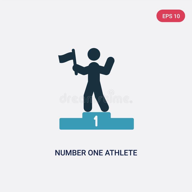 Icono bicolor del vector del atleta del número uno del concepto de los deportes el símbolo azul aislado de la muestra del vector  ilustración del vector