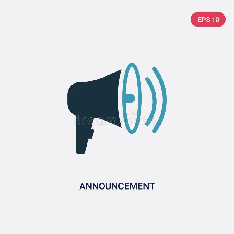 Icono bicolor del vector del aviso del concepto de comercialización de los medios sociales el símbolo azul aislado de la muestra  stock de ilustración