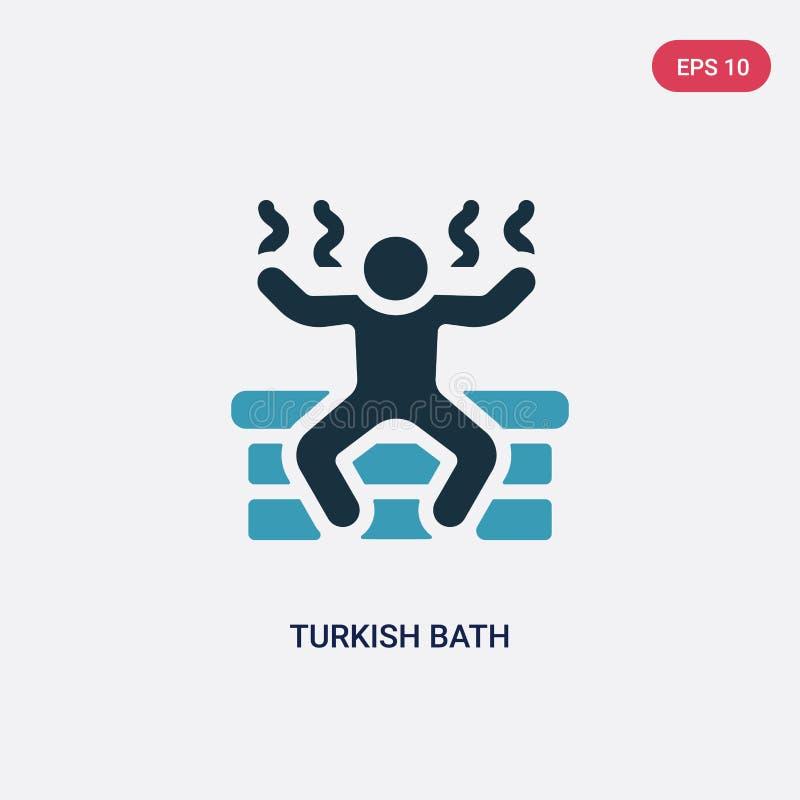 Icono bicolor del vector del baño turco del concepto de la sauna el símbolo azul aislado de la muestra del vector del baño turco  libre illustration