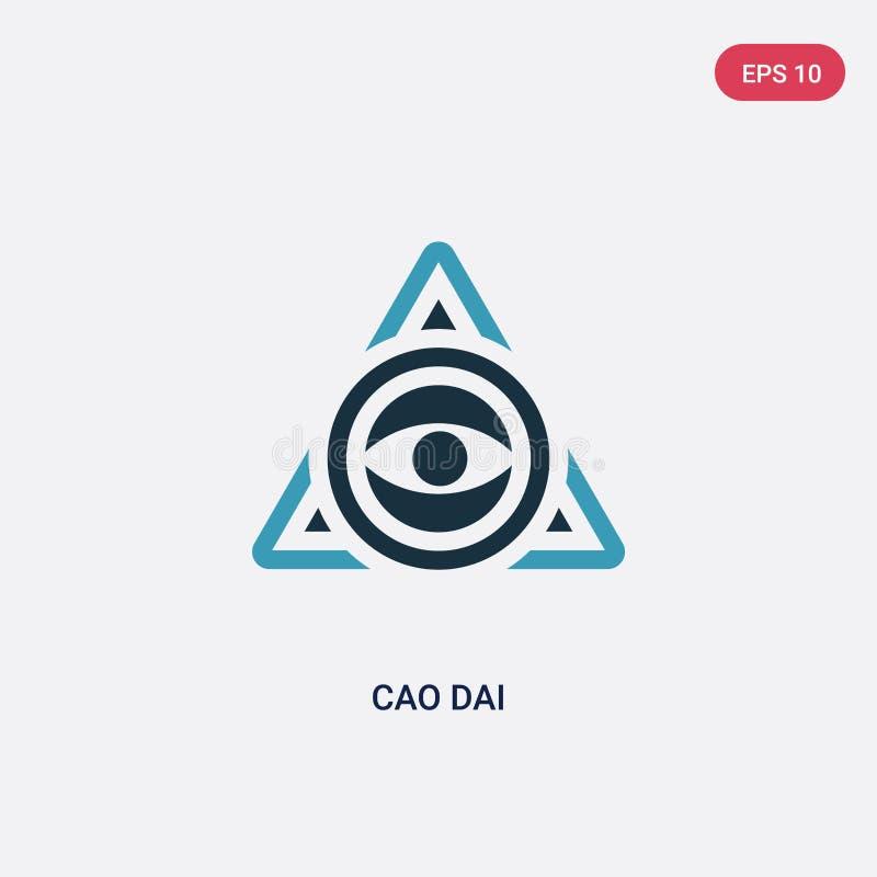 Icono bicolor del vector del cao dai del concepto de la religión el símbolo azul aislado de la muestra del vector del cao dai pue libre illustration